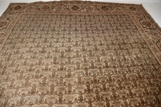 Persian Tabriz with rare zili sultan pattern.  It is complete with a small repair. 