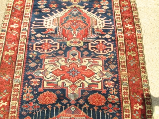 Awesome Antique Persian Serapi (karaja) Rug.  size 12'7''x3'7''. condition good pile .need some re pile .see photosPlease. Circa 1890.no wholes.