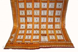 Phulkari From West(Pakistan)Punjab India Called As Shisha(Mirror)Design Bagh.C.1900. Floss Silk on Hand Spun Cotton khaddar Cloth.(DSL04190).