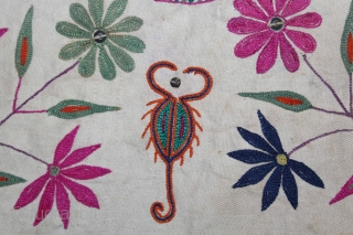 Dowry (Envelope)Bag From Bhinmal, Jalore District,Rajasthan.Embroidered on Handwoven cotton cloth. Handstitched. Has a wrap-around string closure.Its size is 44cm x 66cm.(DSL02820).