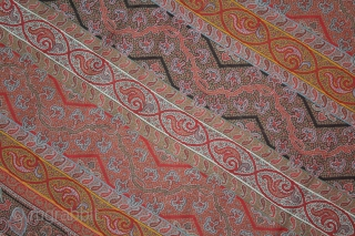 French Paisley Shwal (Katras) Rumal Roman Stripe Square Victorian Shawl with multiple borders.Made for Indian Market.C.1900.Its size is 180cm X 188cm.(DSL03590).
