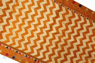 Phulkari From West(Pakistan)Punjab India Called As Laheriya(Wave) Design. Floss Silk on Hand Spun Cotton khaddar Cloth.(DSL02840)