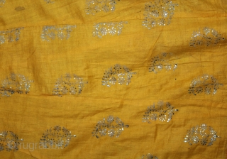 """Mull-Mull cotton Ghaghra (Skirt) Silver Paste from Rajasthan India Early 20""""Century.Used mainly by Rajput family of Rajasthan.Its size is L-88cm X Around is 592cm.(DSL02850)."""