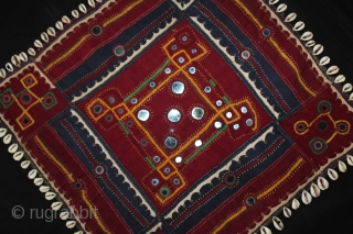 Banjara embroidery,ceremonial square Called As Dhavalo From Karnataka, Telangana,India.C.1940.Cotton,embroidered appliqué,cowrie and shisha work.Its size is 47cm X 48cm.(DSL02300).
