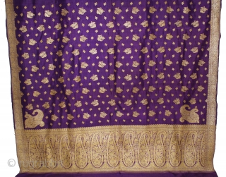Vintage Pitambari Saree hand woven zari (silver treads) saree from Varanasi called As Pitambari Saree of late 19th century.Made to order for some Royal Rajput Family.Extremely Fine Saree.(DSL02910).