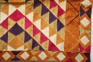 Phulkari From West(Pakistan)Punjab India Called As Panchrangi Lahariya Design. Beautiful colour Combination of Panchrangi (Five Coloured One) Bagh. Floss Silk on Hand Spun Cotton khaddar Cloth.(DSE02950).
