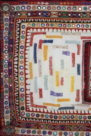 Baby Quilt Embroidered and Appliqued work Made by Gadhvi Community of Dwarka region of Saurashtra Gujrat. India.Very Fine Mirror and Patch work.Very unusual and rare to find such quilts.Its size is 61cm  ...
