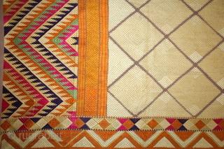 Phulkari From West(Pakistan)Punjab India Called As Chand(Moon) Bagh.C.1900.Rare Lahariya Panchrangi Pallu with Panchrangi Borders.Floss Silk on Hand Spun Cotton khaddar Cloth. Mint condition.(DSL03010).