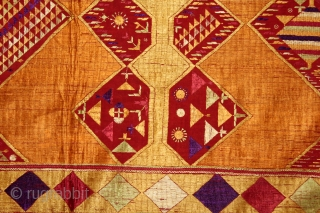 Sarpallu Phulkari From East(Punjab)India called As Sarpallu(Patang Design).Moga District of Punjab India.Floss Silk on Hand Spun Cotton khaddar Cloth.Its size is W-138cm x L-230cm.(DSL03080).