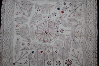 Kantha Quilted Embroidery with cotton thread Kantha Probably From East Bengal(Bangladesh)Region India.C.1900.Its size is 54cm X 56cm.(DSL03090).