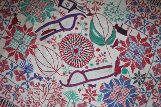Vintage Kantha quilt embroidery with cotton thread Kantha Probably From East Bengal(Bangladesh)Region India.C.1900.Its size is 63cm x 85cm.(DSL02040).