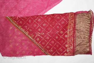 "Mothara Pagh (Turban) Fine Cotton Mull-Mull,Gold Paste Early 20""Century.Royals family Rajasthan India.Length 15 to 18 miter.(DSE01450New)."