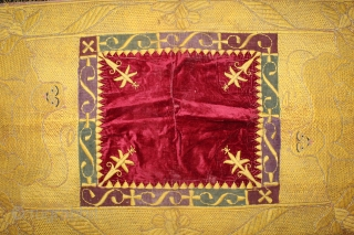 Bichayat Valvet fabric kala Batu Hand work from Darbhanga India. Royal Nawab Family Used on Darbar Cort.Its size is W-74cm X L-112cm.(DSL02660).