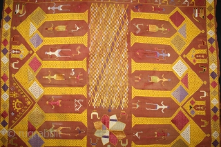 Phulkari From East (Punjab) India Called As Darshan Darwaja Phulkari.One of the rare design in Indian Phulkari.Its Size is 130cm X 234cm.(DSE02670).