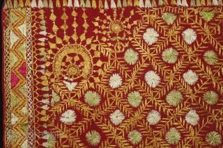 Phulkari From East(Punjab) India Called As Phulkari. Rare Surya (Sun)Design,placed as a konia at the corner of the pallu. Extremely Fine Phulkari.Its size is W-117cm X L-234cm.(DSL02680).