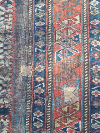 Distressed but charming late 19th century prayer rug. Needs some serious t.l.c. 1.05m by 1.25m