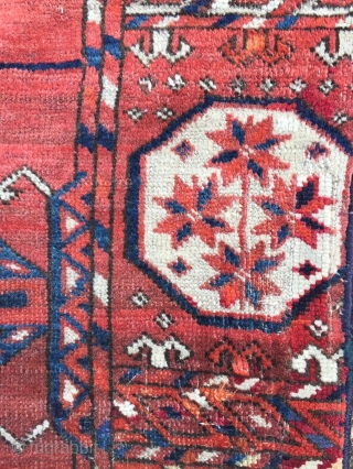 Mid to late 18th century Tekke main carpet.Showing it's age (extensive re-weaves) but in a useable condition.From Mark Whiting collection