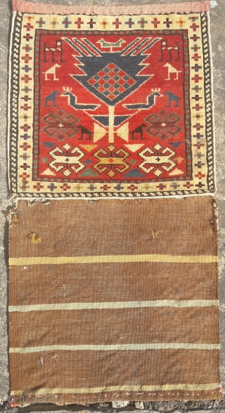 Striking Caucasian bag, in original condition. Could use a wash... Piled area 12in by 12in