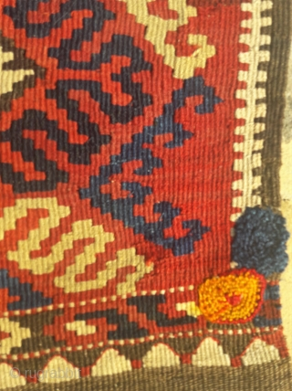 Antique S.E.Anatolian kelim grain bag.Good saturated colours, crisp design Great colours, could do with a clean. Old village repairs visible 21in by 40in