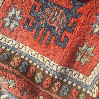 Mid 19th century Antiep rug. A good example of a rare design, great wool, subtle colours. Extensive restoration to edges and ends. 210in by 49in