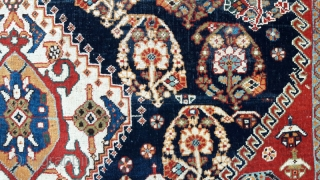 """Early 20th century Quashgai,76"""" by 52"""" Classic design, reselvedged. Low pile in some areas, hence bargain price"""