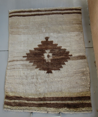 """Central Anatolia...Karapinar Tulu Yatak (4'6"""" x 6'3"""") (140 x 190cm )....wool and Angora goat-hair...circa 1910....fair condition as shown with worn areas and (2) patches ."""