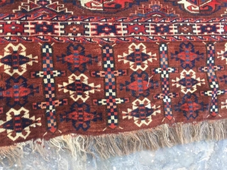 Antique Yomut chuval with great colors, wonderful border, and striking elem. Great pile and no repairs.  Cheers.