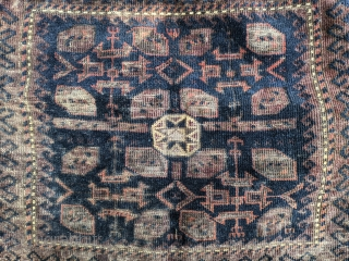 """Antique Timuri Baluch bag face. Dark colors and a few oxidized ones but still an intriguing piece.  1'7"""" x 1'9""""  Cheers"""