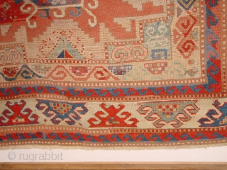 very old kazak, ca 1850, great size 166x212cm  5.5x7.1ft, all ends, beautifully secured, impressive design, great natural colors, the wool used for repiling is faded, 