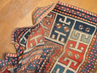wonderful drawing, karachopf? prayerrug? caucasian it is, great natural colors, vo stains, headends secured wonderful at the backside with stitches belt, some repiling, very antique 1870 or so... some foundation visible, no  ...