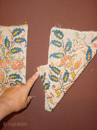 2 WONDERFUL ANTIQUE 1850 OTTOMAN SASH FRAGMENTS SILK EMBROIDED, no stains, no damages