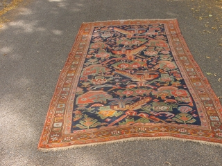 161x315cm  5.4x10.5ft  dated karabagh with stunning natural colors, the greens, blues and warm orange etc, flat lying, selvedges cut and secured, clean , no holes, no tears two incisisions to make it lay  ...