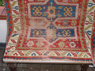 fabulous fachralo 1850,  wonderful natural colors, wear and some holes, no stains  125x117cm 4.2x3.9ft