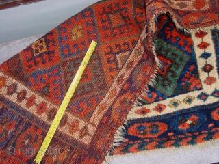 lustrous silky wool, fabulous natural colors, great selvedges, no holes, headends secured, wonderful aubergine apricot, etc.  97x63cm 3.2x2.1ft