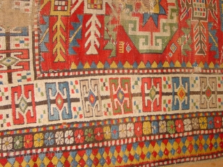 fabulous caucasian, one should see and feel this in the flesh, it is partly cut and fixed together and has some serious wear, repair and secured hole, yet its pattern and colors......about  ...