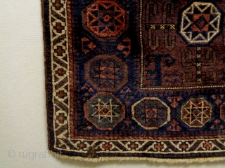 Baluch Bagface Size: 85x77cm Natural colors (except the orange color is a little bit faded), made in period 1910, there are small moth bites.