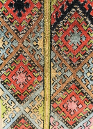 antique Baluch noble embroidery with raw silk on cotton, Size 200x19cm