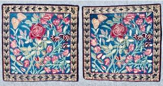 Antique Pair Kerman Lavar 1870 circa,,in very good condition size 60x60cm.61x61cm