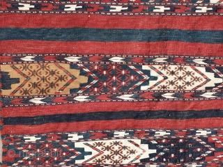 Antique Turkmen Yomud-group kilim flatweave. Vibrant all natural colors. Measures 117x79 cm.