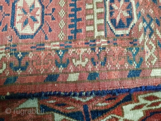 Beautiful 19th century Turkoman Tekke wedding rug with torba guls. Overall good condition for age with a couple invisible tiny old repairs and a one square inch patch that blends perfectly. Size  ...