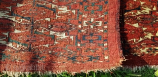 """Beautiful 19th century Turkmen Tekke 12 gul torba, with great color and velvety wool quality. Very finely woven. Some moth bites as seen, otherwise in overall good condition. Size is 4'1""""x 1'2"""".  ..."""