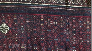 Afshar kuhi wool frings kilim with a tiny hole that villagers repaired it,Size:320x148 cm
