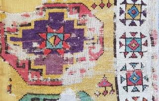 18th Century Konya Rug Fragment size 110x201 cm mounted on linen