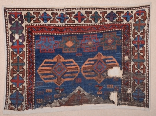 Early 19th Century East Anatolian Rug Fragment size 80x120 cm professionally mounted on linen