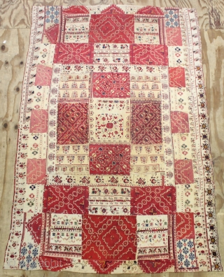 A WONDERFUL GREECE TEXTILE MADE BY PICES FROM ca.1850 - 1900 ,, size:210x138 cm  6.11x4.7 ft