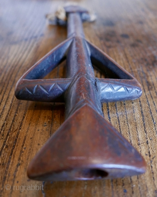 """Antique wooden whistle;  Mossi tribe;  Burkina Faso,  W Africa;  19th c;  11 1/2""""H   Minimalist beauty."""