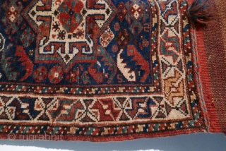 Complete and beautiful,  this antique Khamseh bag is from SW Persia,  circa 1910,  with lovely natural dyes,  front and back;  in excellent condition and with high pile;  ...