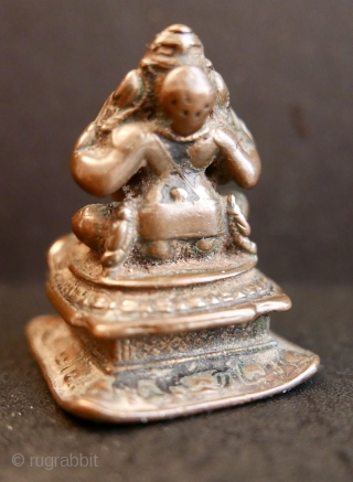 "18th c Hindu icon 'GANESH';  bronze;  1 3/4""H or 4.4cm