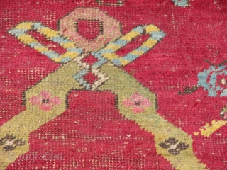 Wonderful Mucur Rug.great piece.i guess it is an early piece..great colours,figures.it is worn but still very beautifull and great piece.prayer design with a large mihrab and lovely borders and figures inside the  ...