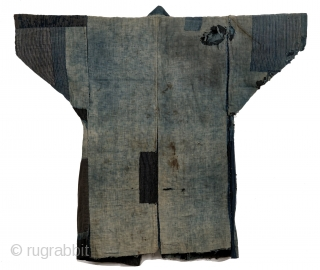 Hand sewn cotton boro 襤褸 noragi.   Boro is a Japanese form of recycling coming from an economic necessity in which fabric is patched on the reverse side to preserve the usability.   ...
